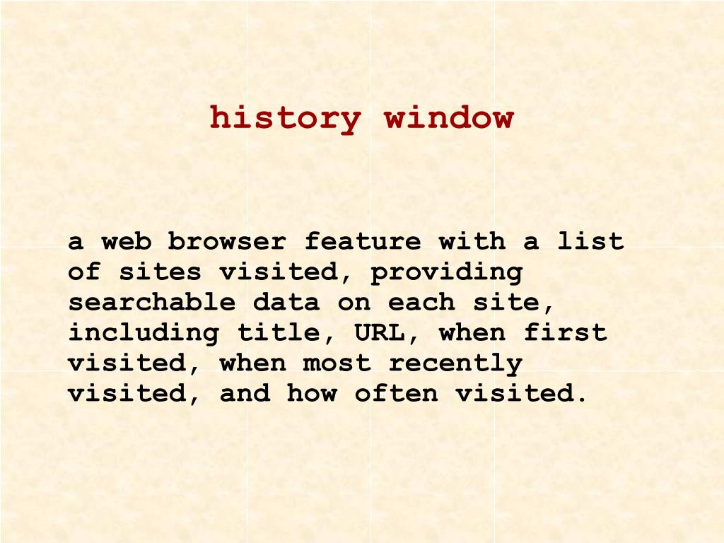 history window