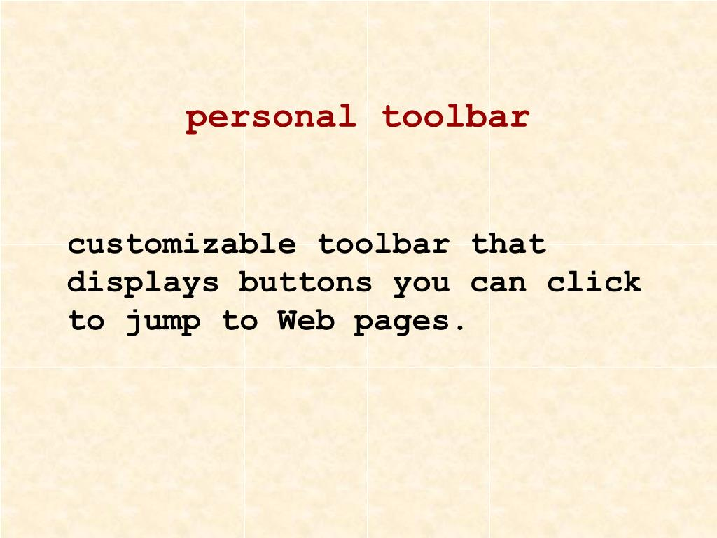 personal toolbar