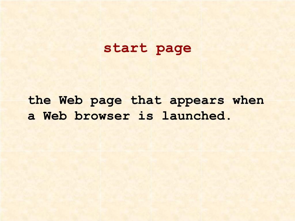 start page