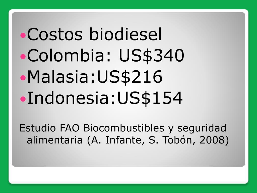 Costos biodiesel