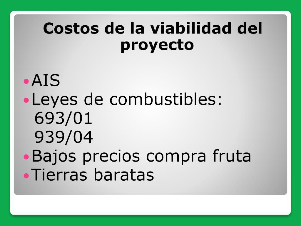 Costos de la viabilidad del proyecto