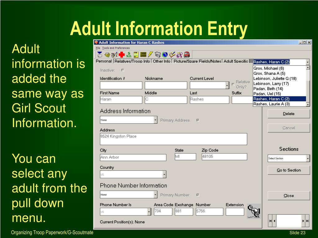 Adult Information Entry