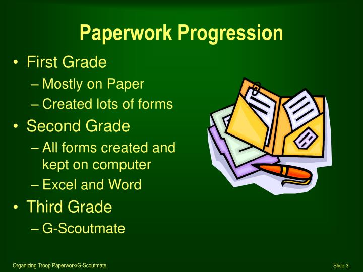 Paperwork progression