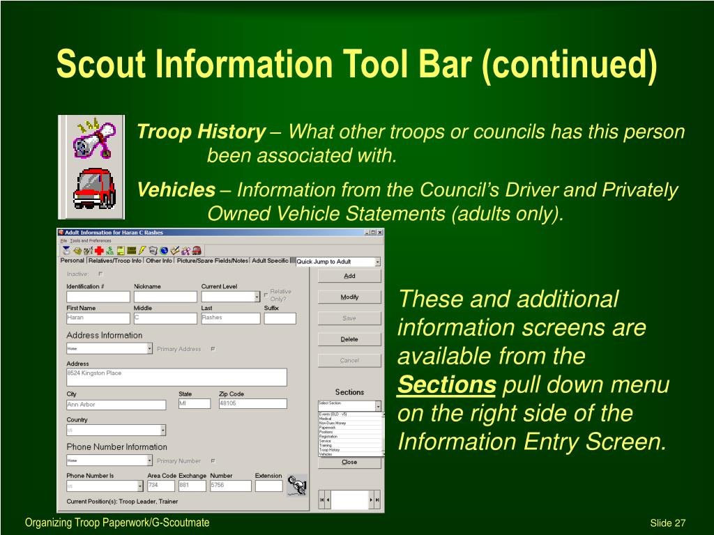 Scout Information Tool Bar (continued)