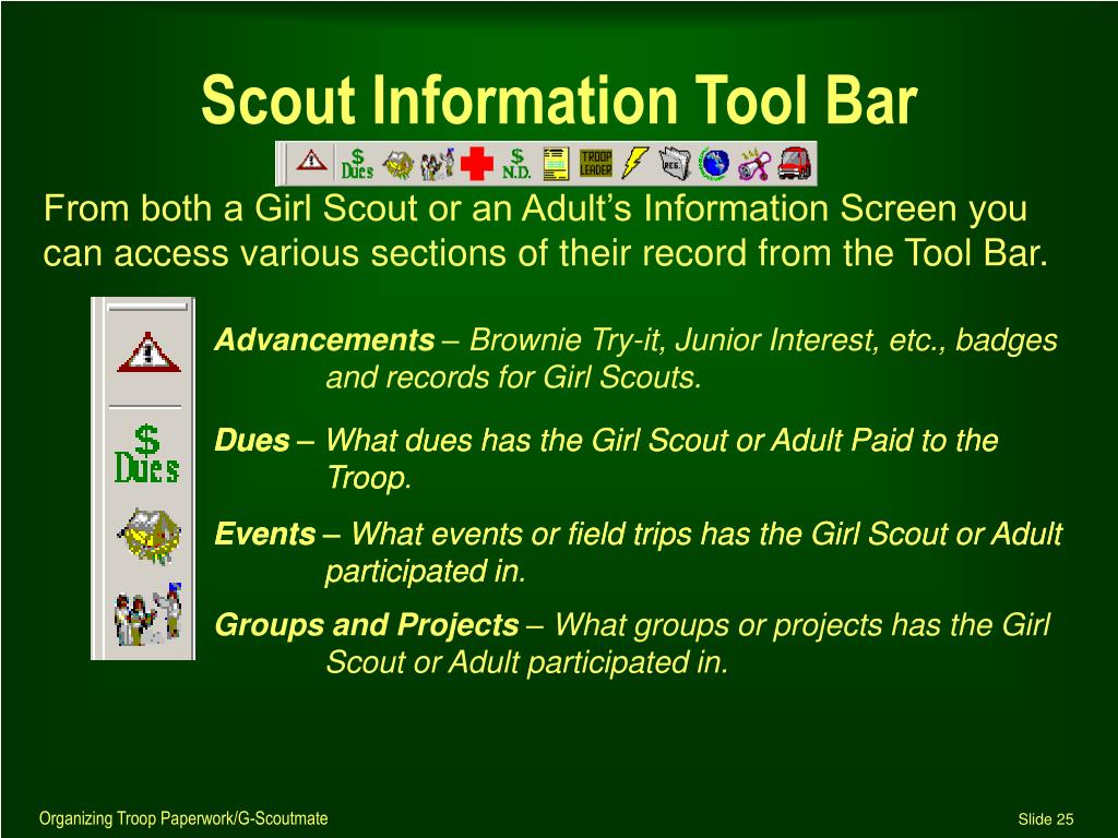 Scout Information Tool Bar