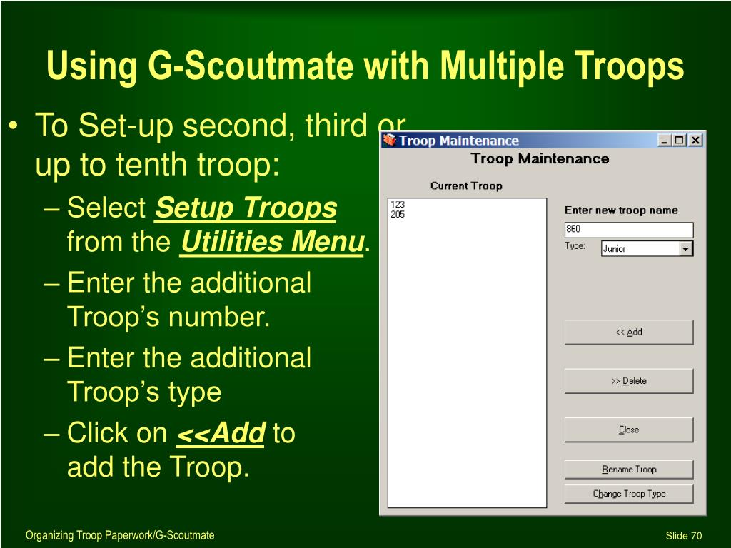 Using G-Scoutmate with Multiple Troops