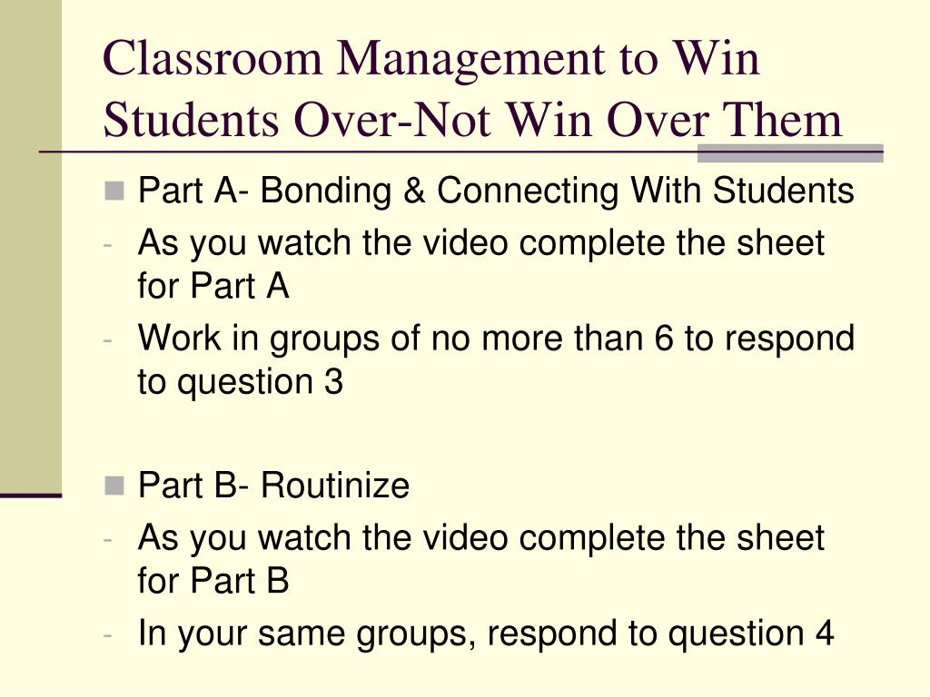 Classroom Management to Win Students Over-Not Win Over Them