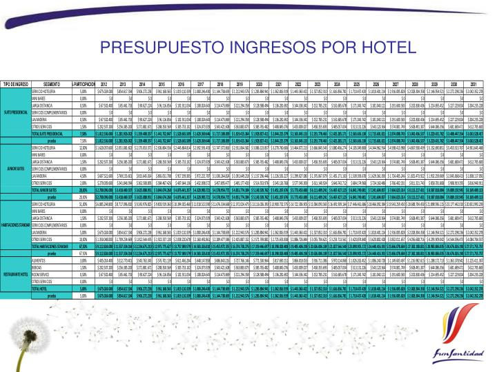 PRESUPUESTO INGRESOS POR HOTEL