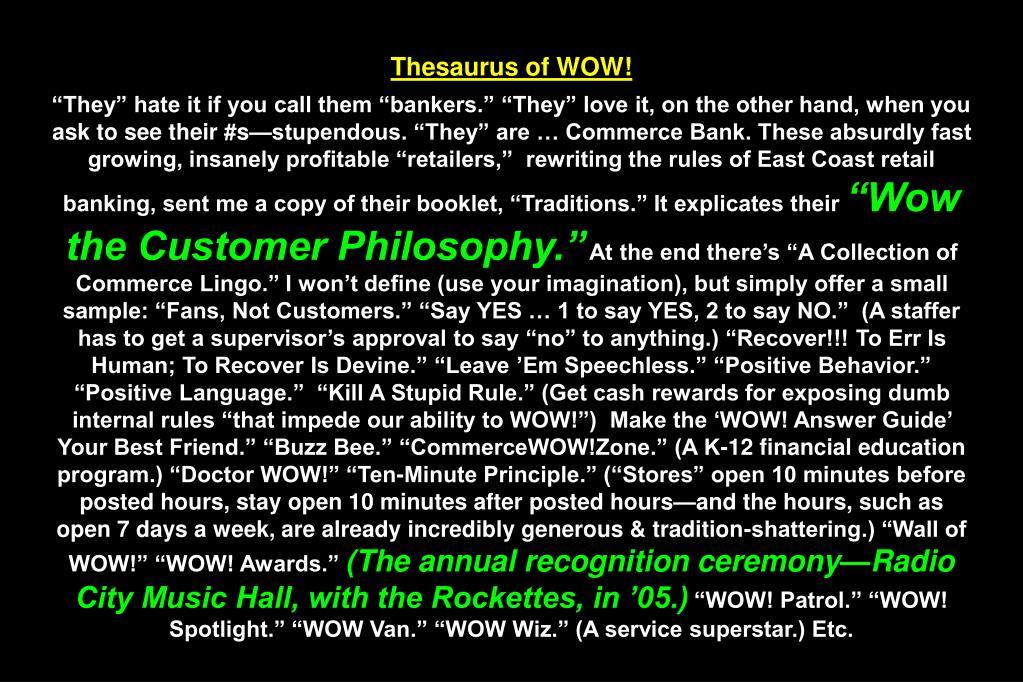 Thesaurus of WOW!