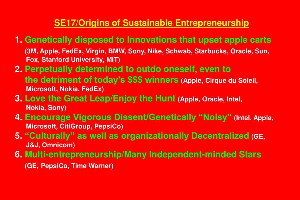 SE17/Origins of Sustainable Entrepreneurship