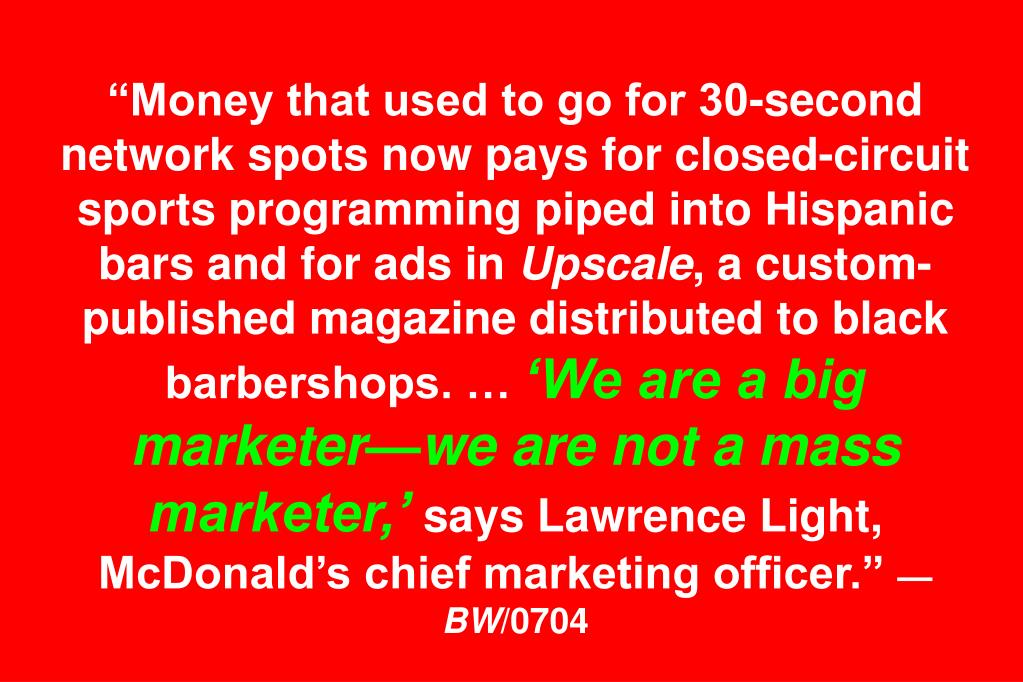 """Money that used to go for 30-second network spots now pays for closed-circuit sports programming piped into Hispanic bars and for ads in"