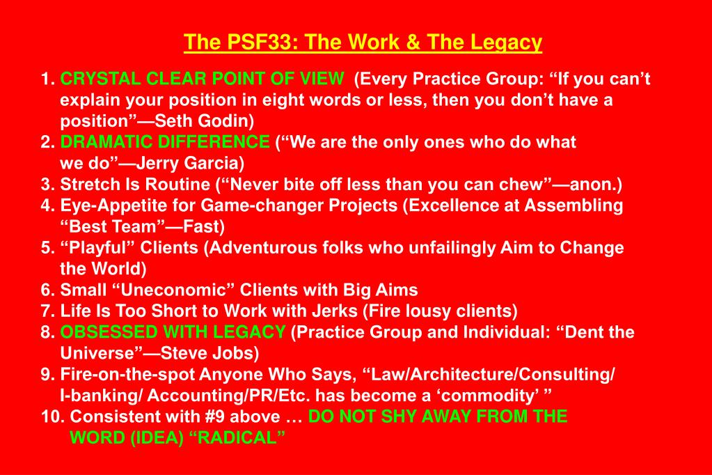 The PSF33: The Work & The Legacy