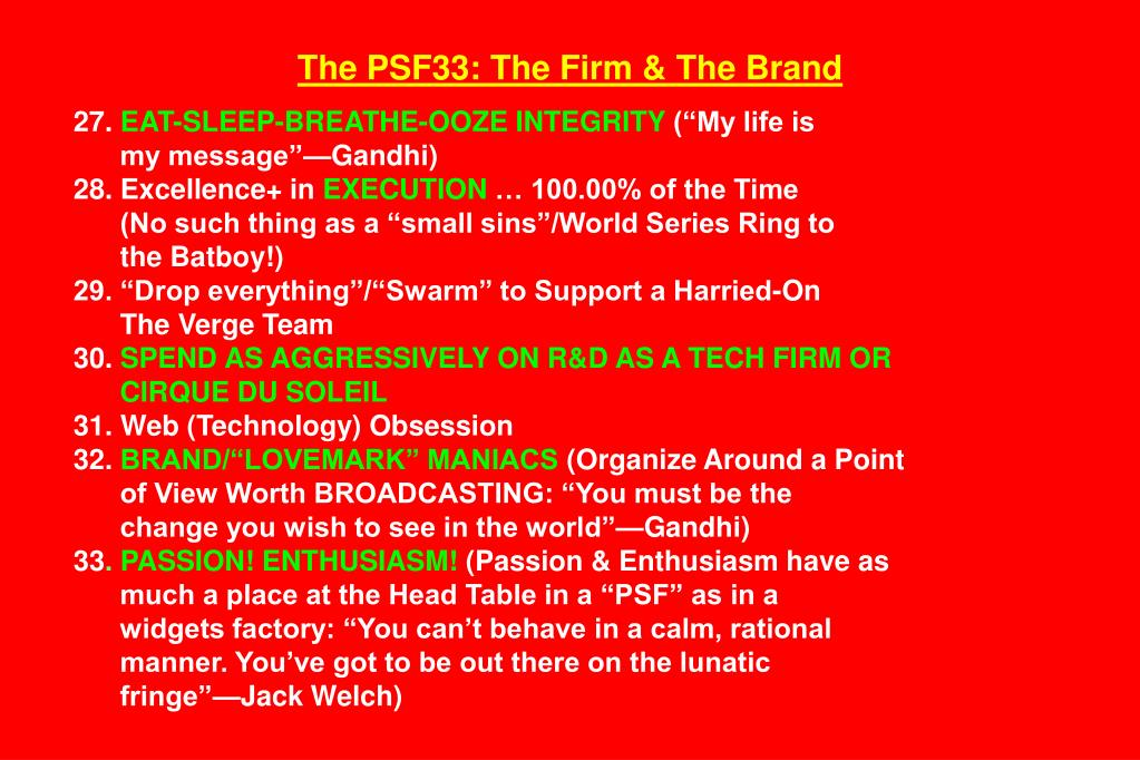 The PSF33: The Firm & The Brand