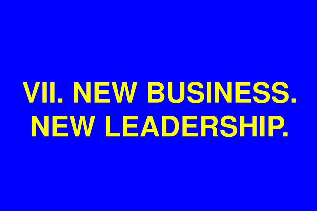 VII. NEW BUSINESS. NEW LEADERSHIP.