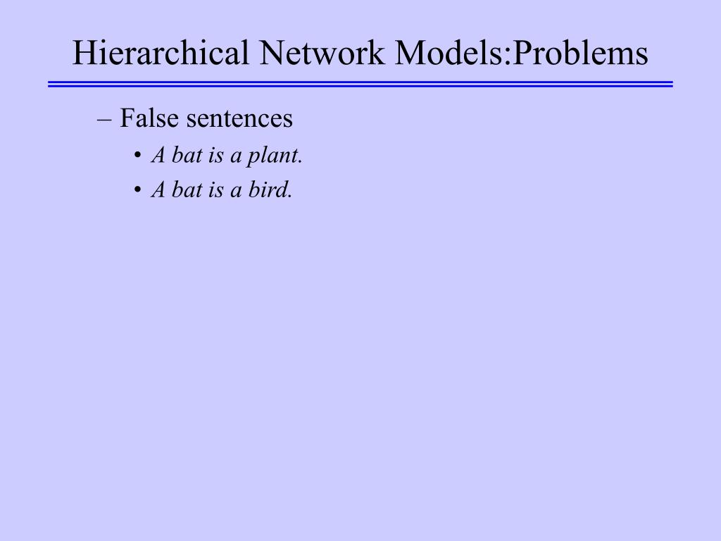 Hierarchical Network Models:Problems