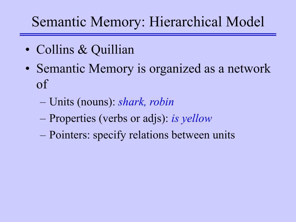 Semantic Memory: Hierarchical Model