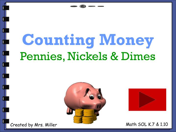 Counting money pennies nickels dimes