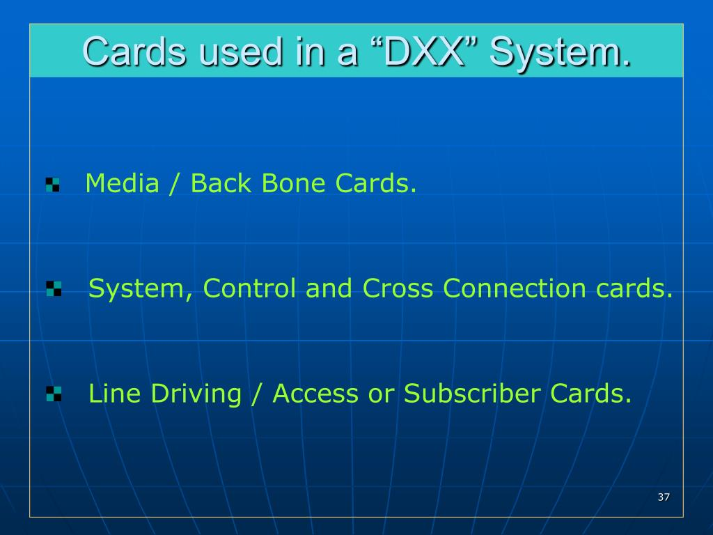 "Cards used in a ""DXX"" System."