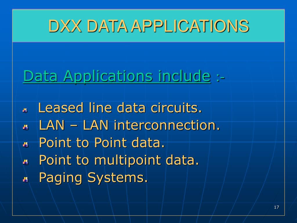 DXX DATA APPLICATIONS