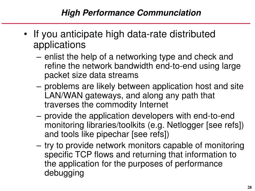 High Performance Communciation