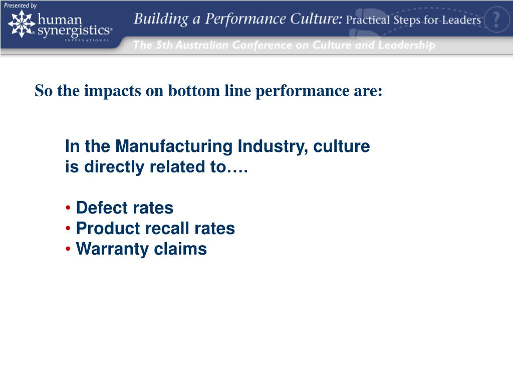 So the impacts on bottom line performance are: