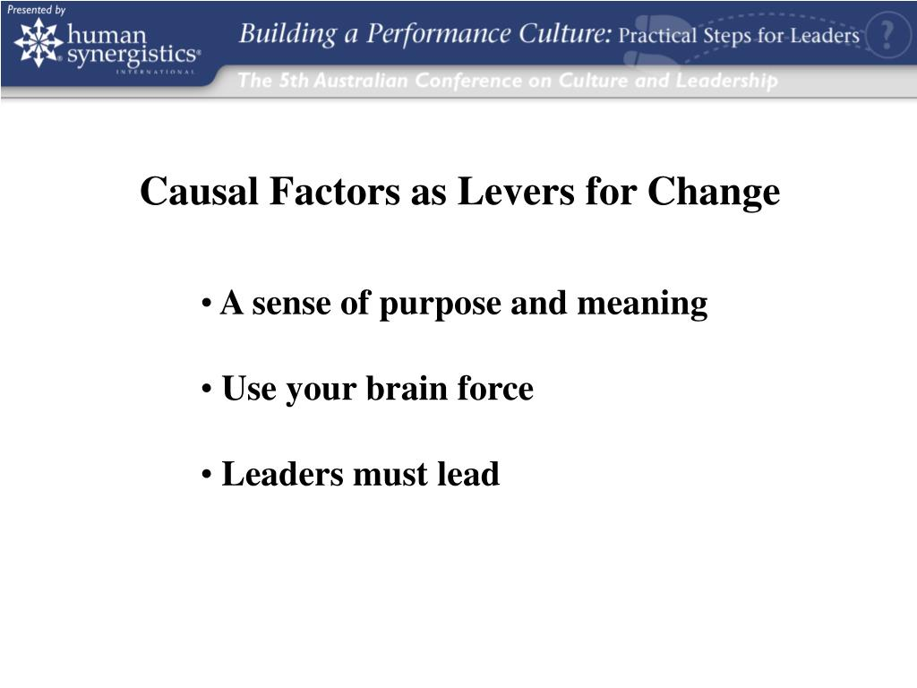 Causal Factors as Levers for Change