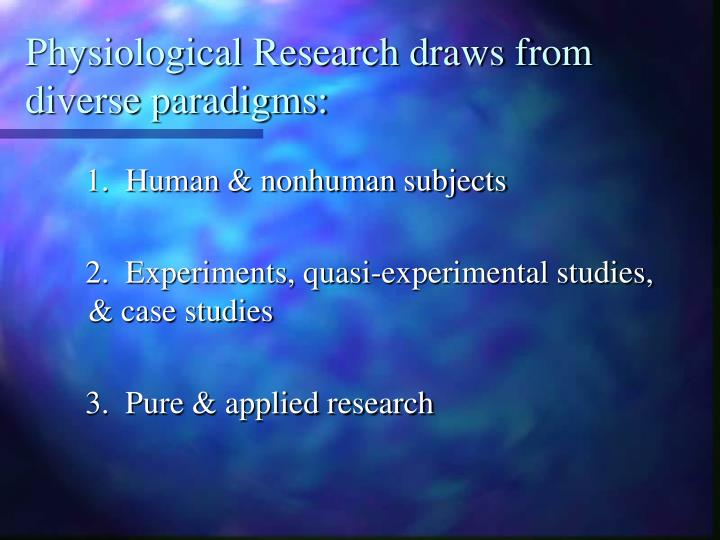 Physiological Research draws from diverse paradigms: