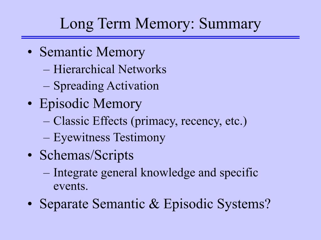 Long Term Memory: Summary