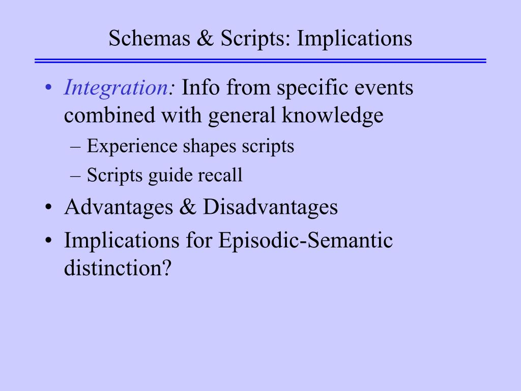 Schemas & Scripts: Implications