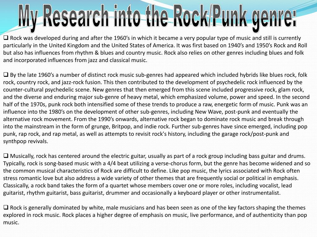 My Research into the Rock/Punk genre: