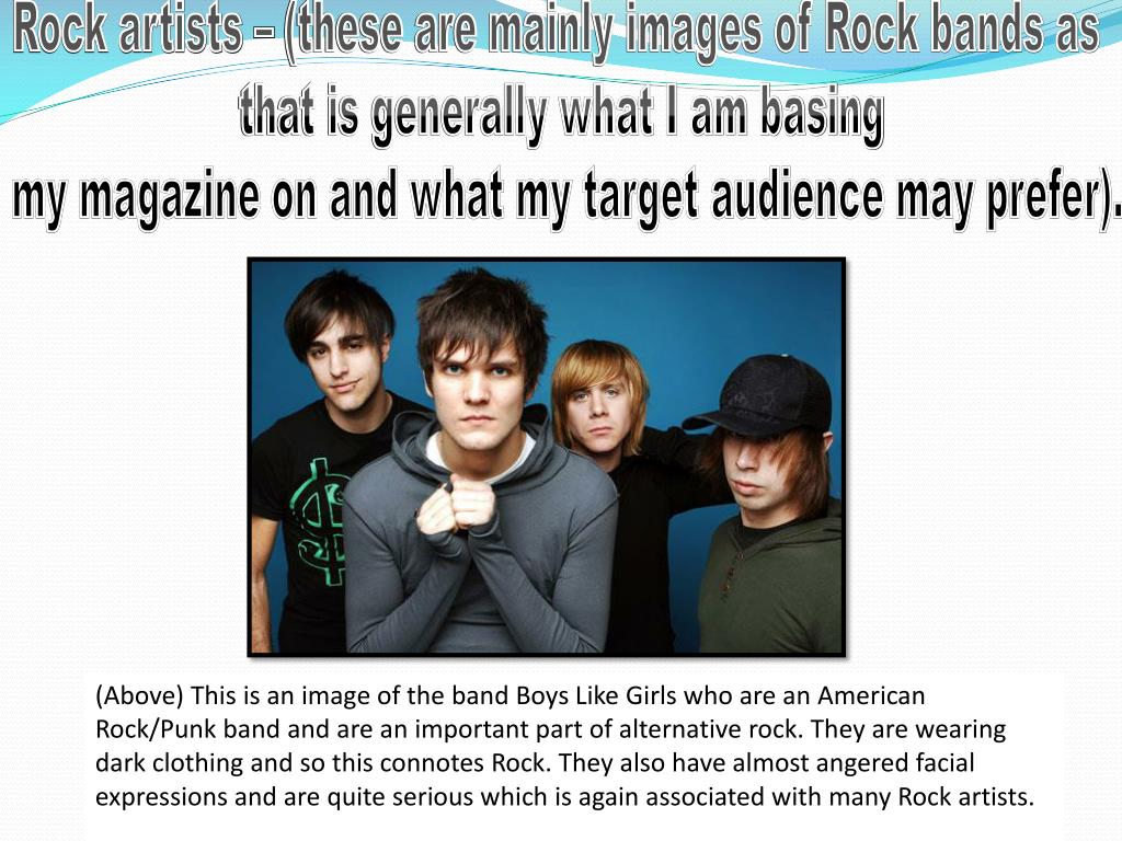 Rock artists – (these are mainly images of Rock bands as