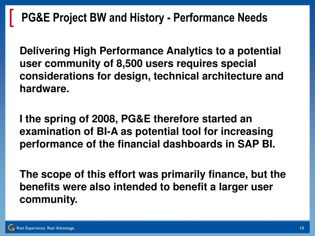 PG&E Project BW and History - Performance Needs