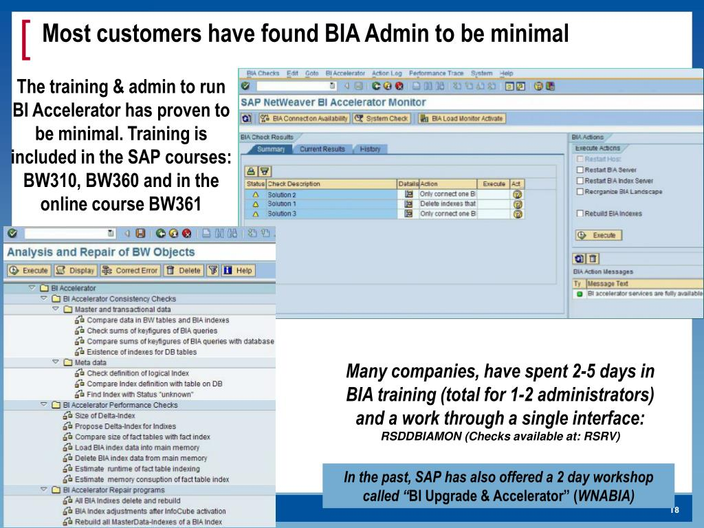 Most customers have found BIA Admin to be minimal