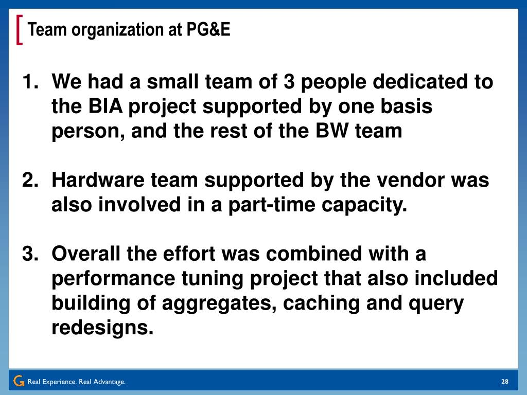 Team organization at PG&E