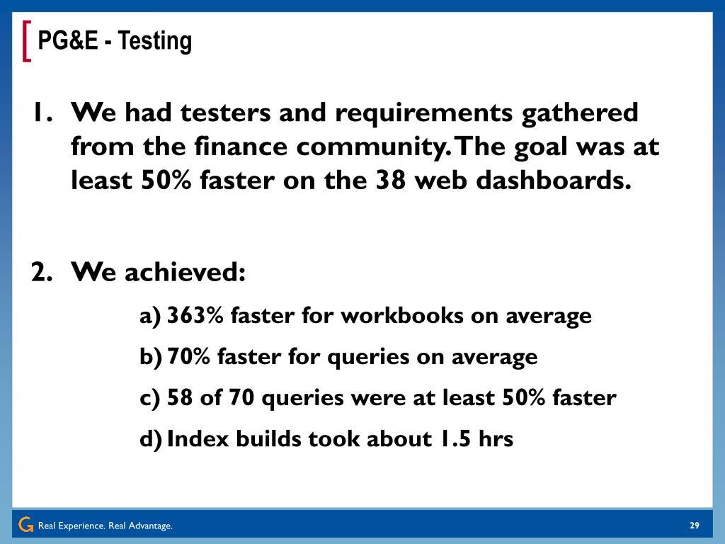 PG&E - Testing