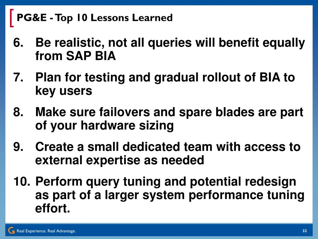 PG&E - Top 10 Lessons Learned