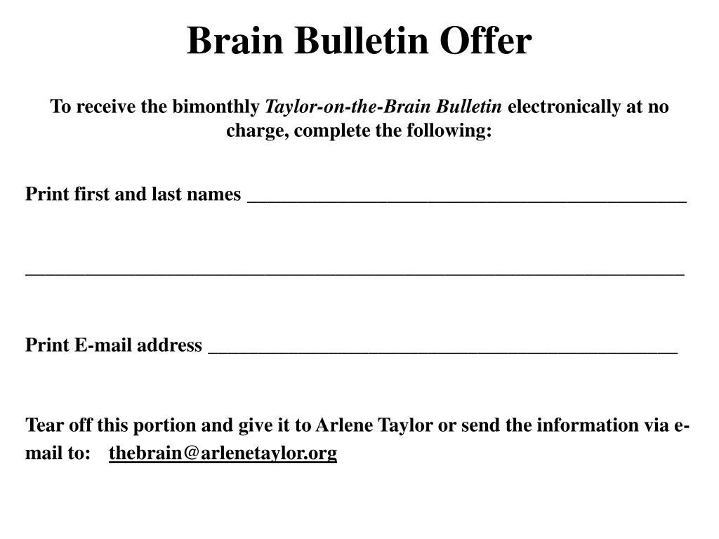 Brain Bulletin Offer