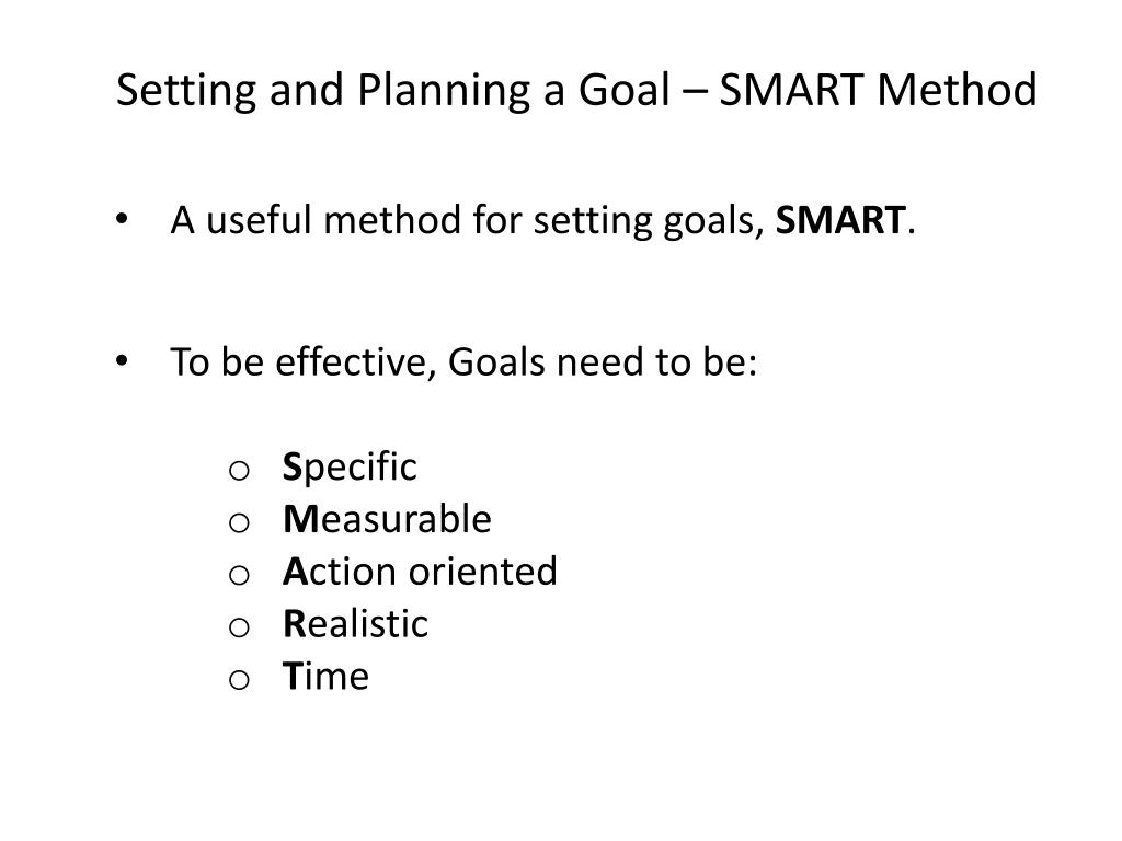 Setting and Planning a Goal – SMART Method