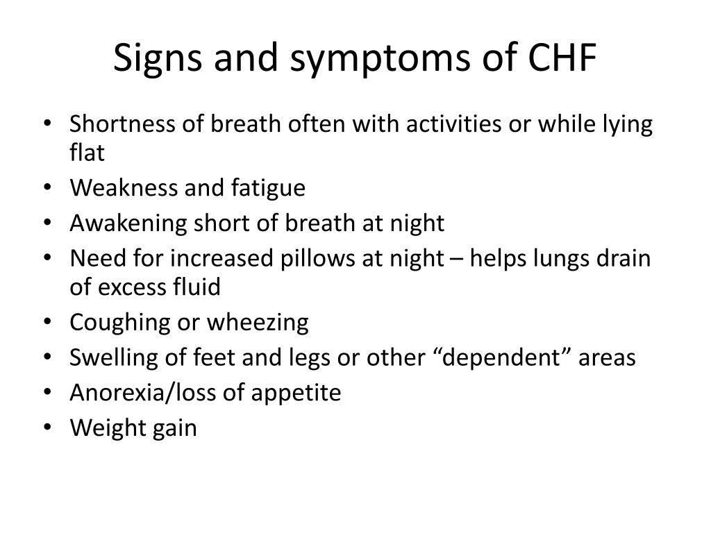 Signs and symptoms of CHF
