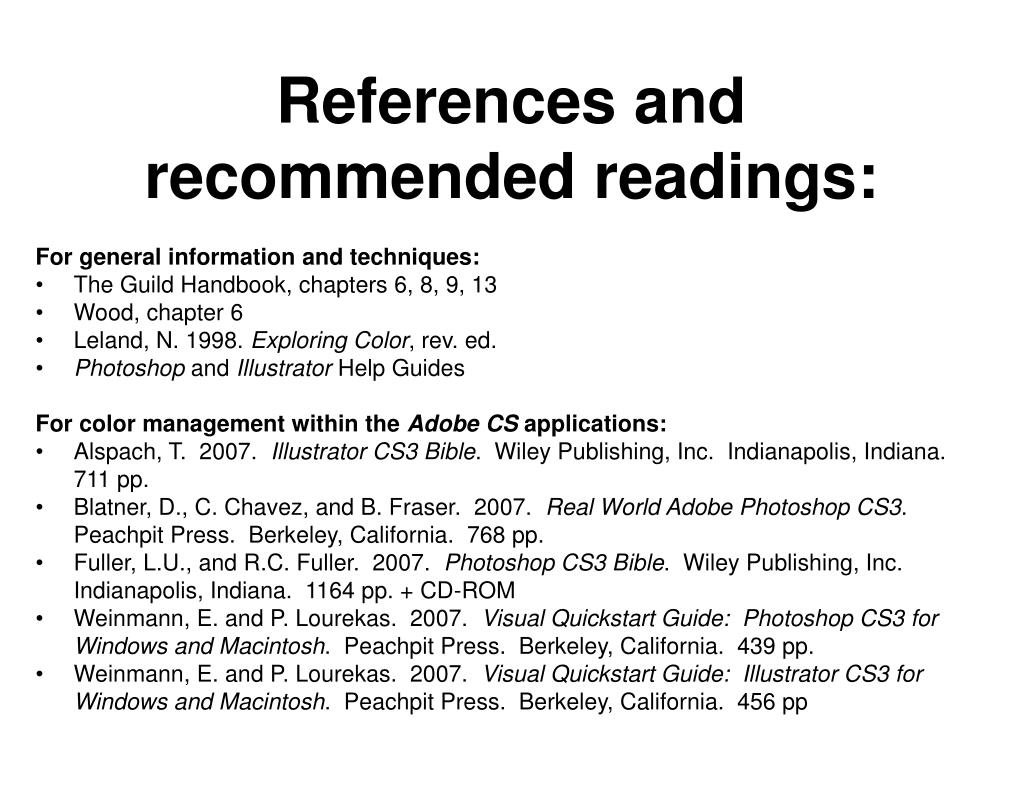 References and recommended readings: