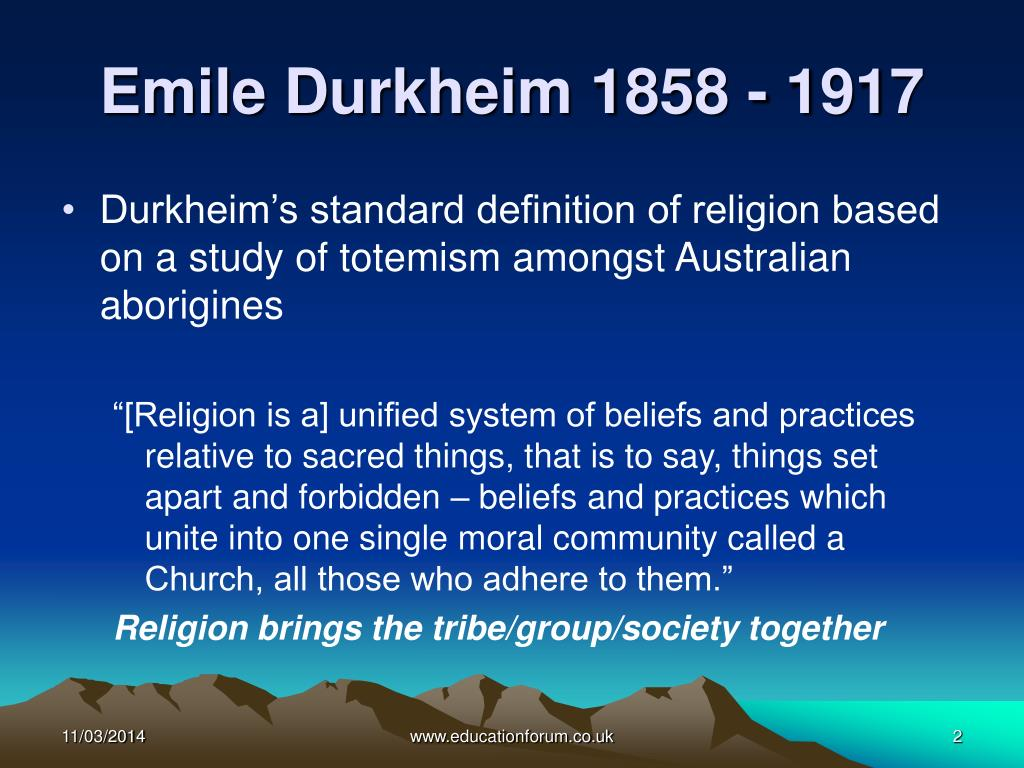 religion of emile durkheim Start studying emile durkheim learn vocabulary, terms, and more with flashcards, games, and other study tools.