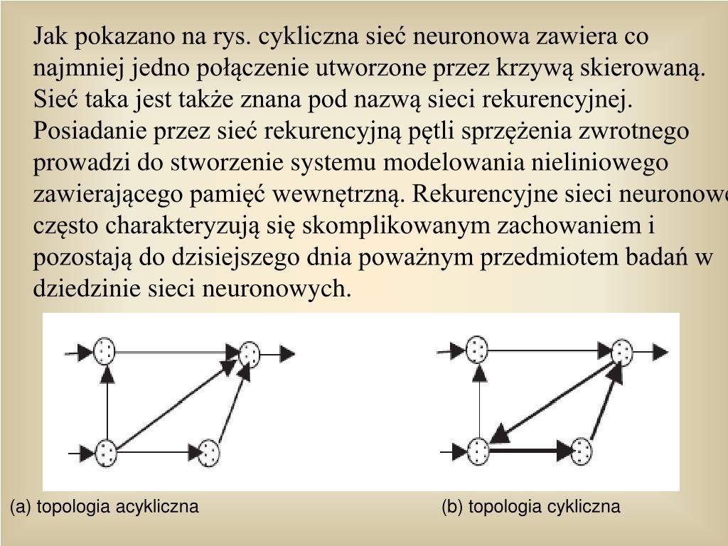 Jak pokazano na rys. cykliczna sie neuronowa zawiera co najmniej jedno poczenie utworzone przez krzyw skierowan. Sie taka jest take znana pod nazw sieci rekurencyjnej. Posiadanie przez sie rekurencyjn ptli sprzenia zwrotnego prowadzi do stworzenie systemu modelowania nieliniowego zawierajcego pami wewntrzn. Rekurencyjne sieci neuronowe czsto charakteryzuj si skomplikowanym zachowaniem i pozostaj do dzisiejszego dnia powanym przedmiotem bada w dziedzinie sieci neuronowych.
