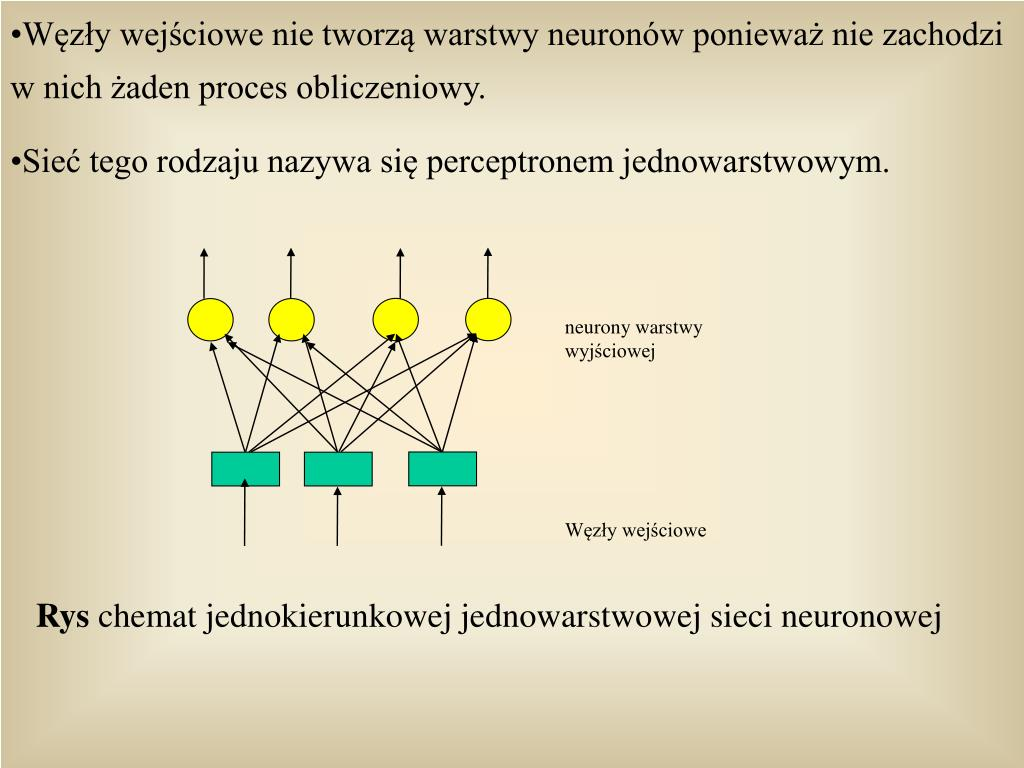 Wzy wejciowe nie tworz warstwy neuronw poniewa nie zachodzi w nich aden proces obliczeniowy.