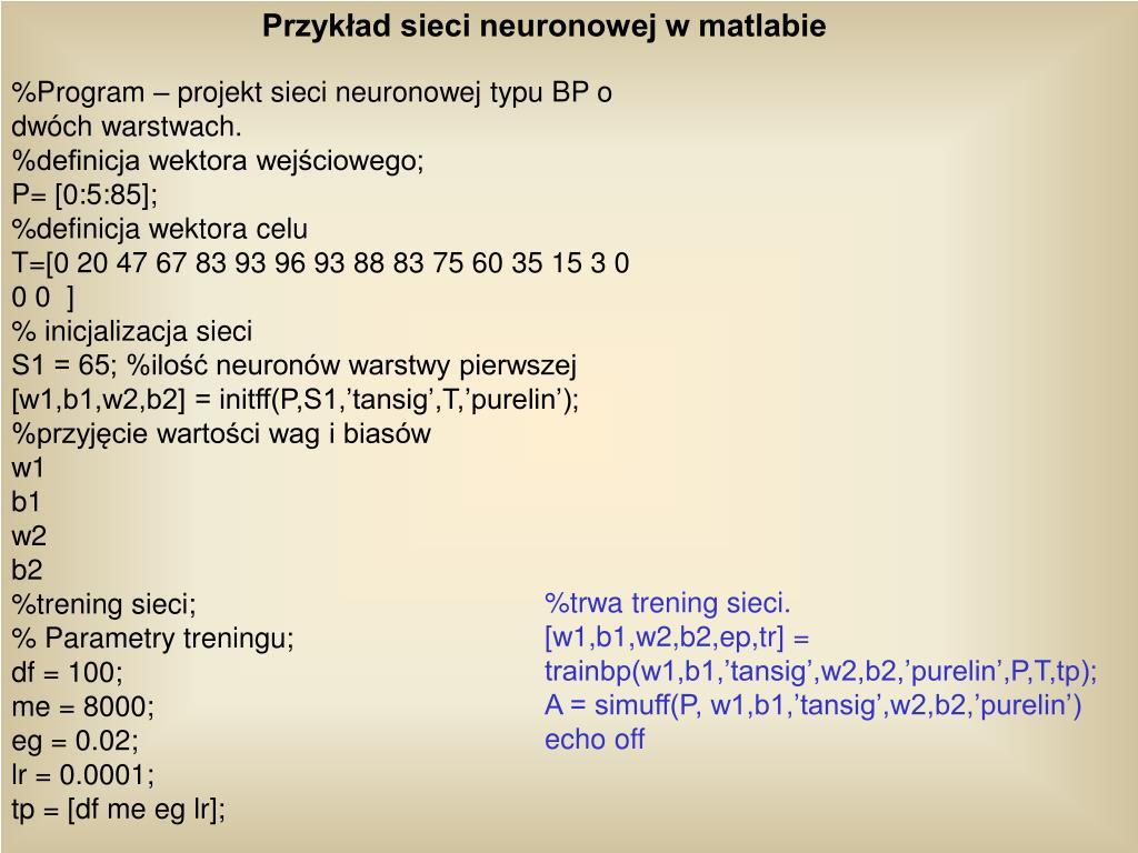 Przykład sieci neuronowej w matlabie
