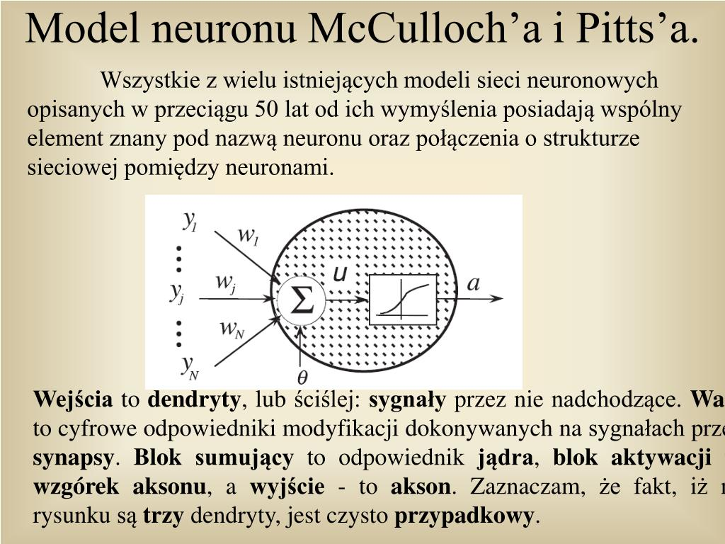 Model neuronu McCulloch'a i Pitts'a.
