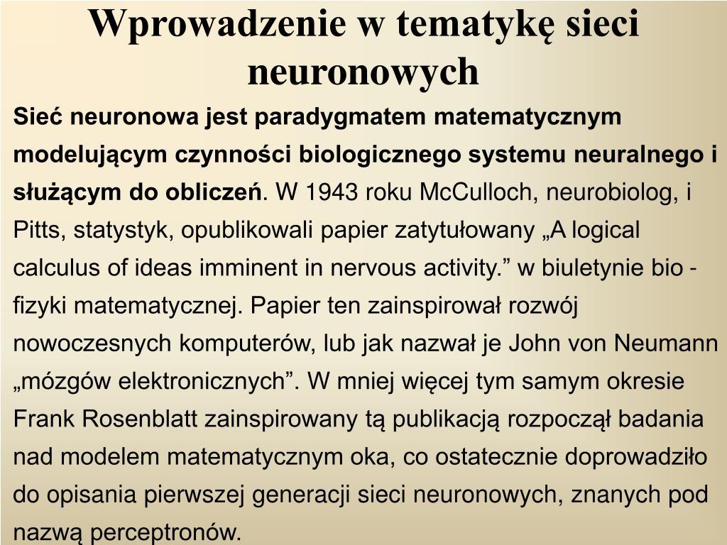 Wprowadzenie w tematykę sieci neuronowych