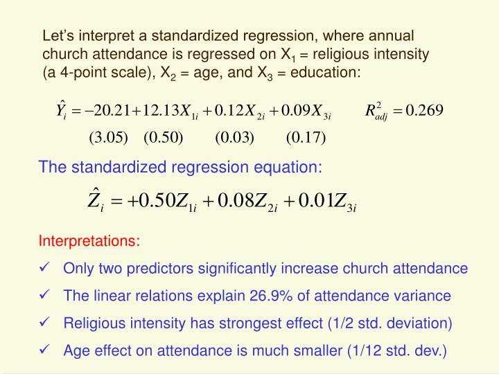Let's interpret a standardized regression, where annual church attendance is regressed on X