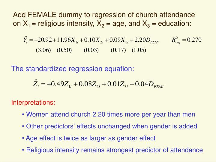 Add FEMALE dummy to regression of church attendance on X