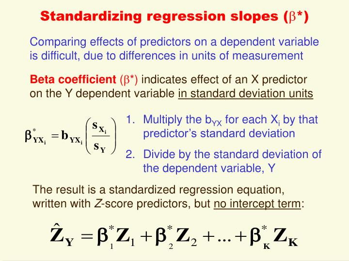 Standardizing regression slopes (