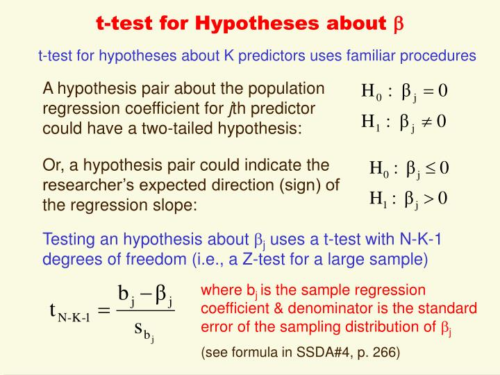 t-test for Hypotheses about